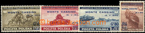 37471 - 1944 Exilové vydání s přetiskem Monte Cassino Mi.376-379, lu