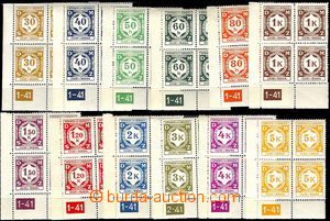 37518 - 1941 Pof.SL1-SL12,  issue I  selection of L bloks of four wi