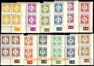 37522 - 1941 Pof.SL1-SL12, issue I  selection of R blk-of-4 with pla