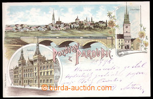 37528 - 1898 Pardubice - color collage lithography, long address, fi
