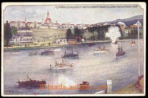 37529 - 1906 Liberec -  color drawn postcard to German - Czech exhib