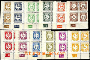 37530 - 1941 Pof.SL1-SL12, issue I selection of L bloks of four with