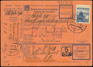 37542 - 1938 whole international dispatch note on/for 200CZK to Tel-