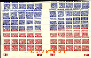 37603 - 1939 1939 B+M complete set of bottom strips of 20 with gutte