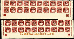 37606 - 1939 Obchodní tiskopis  Pof.OT1, 2ks dolních 20-pásů s D
