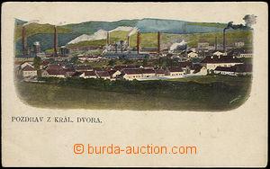 37624 - 1900 Králův Dvůr - celkový pohled na obec i továrnu, ne