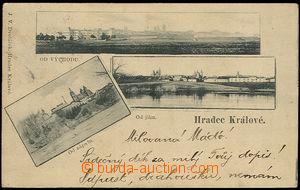 37628 - 1899 Hradec Králové - 3okénková pohlednice, pohled od v�