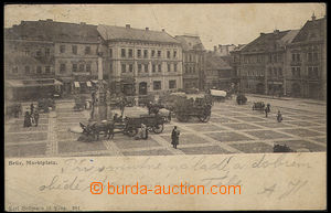 37633 - 1901 Most - Brüx, Marktplatz, square with people and carria