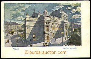 37643 - 1903 Plzeň - Town theatre, painted, Un, damaged corners als