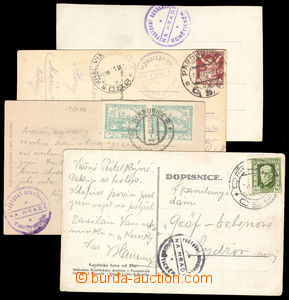 37657 - 1920/21 4x postcard with postmarks private postage agency on