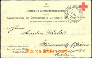 37668 - 1915 Red Cross card with cancel. Wien ROTES KREUZ  (Auskunft