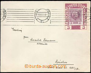 37670 - 1908 printed matter with mounted contribution label On gym S
