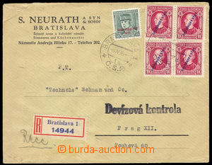 37693 - 1939 CUSTOMS CONTROL   Reg letter from Slovakia to Bohemia-M