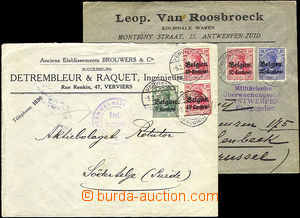 37700 - 1916 BELGIUM  2 pcs of commercial letters franked with. over
