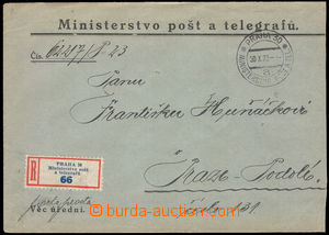 37726 - 1923 CZECHOSLOVAKIA 1918-39, OFFICIAL   Reg letter liberated
