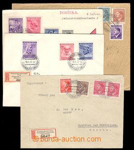 37728 - 1943/44 ČaM  4x R dopis s dvoujazyčnými R-nálepkami Tele