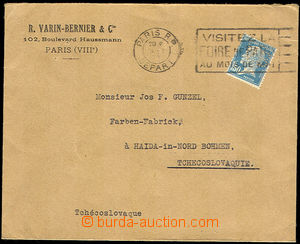 37730 - 1923 FRANCE  letter to Czechoslovakia with additional-printi