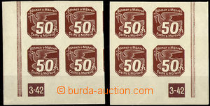 37757 - 1939 Pof.NV8, I. edition  50h in blocks of four with plate n