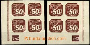 37757 - 1939 Pof.NV8, I.vydání  50h ve 4-blocích s DZ 3-42, kat.