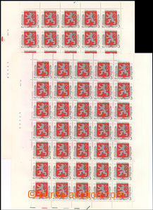 37820 - 1993 Pof.1, both printing sheet, all plate variety