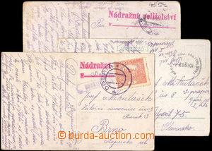 37831 - 1919 3ks pohlednic  z toho 2x s raz. Nádražní velitelstv�
