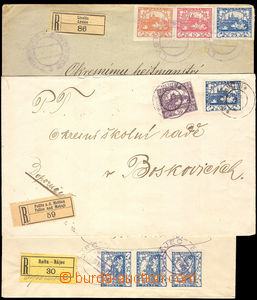 37848 - 1919 3 pcs of R letters franked with. various frankings stam
