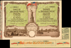 37851 - 1920 share bank BOHEMIE in Prague on/for 400K incl. talons,