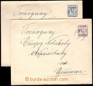 37859 - 1893 2ks celinových obálek s jubilejním přítiskem Mi.U7