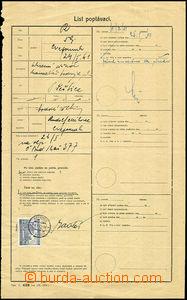 37872 - 1941 request sheet with 4 Koruna, Pof.37, CDS Nepomuk 8.II.4