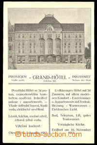 37889 - 1912 Prostějov - advertising postcard Grand-Hotelu, Un, lig