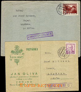 37917 - 1947-49 letter and card with postal agency pmk VRBOVEC (Znoj