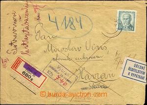 37963 - 1946 ÚŘEDNĚ OTEVŘENÝ DOPIS  R-dopis odeslaný z Prahy,