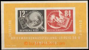 38013 - 1950 Mi.Bl.7, aršík DEBRIA, výrobní vada lepu, kat. 190�