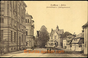 38022 - 1916 Rumburk - view of street with state gymnasiem, Us, cens