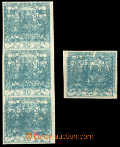38090 -  Pof.8, 20h blue-green, str-of-3 + simple. with double print
