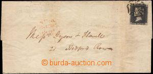 38115 - 1840 skládaný dopis vyfr. zn. 1p černá, Mi.1, deska 1b,
