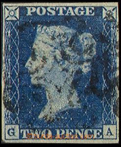 38117 - 1840 1840 blue 2p, Mi.2, plate2, GA, nice margines,double G.