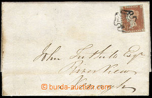 38118 - 1841 folded letter paid with red 1p, Mi.3, nice margins, pla