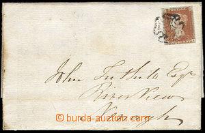 38118 - 1841 skládaný dopis vyfr. červenou 1p, Mi.3, pěkné okra