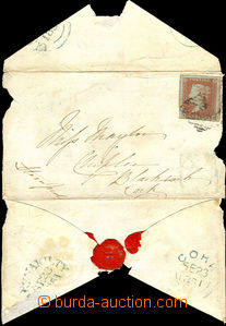 38119 - 1841 twice used envelope franked by Mi.3, 1p red, plate 111,