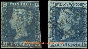 38121 - 1841 comp. 2 pcs of stamps blue 2p, Mi.4, plate 3 (pale blue