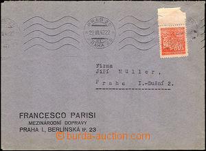 38138 - 1942 dopis s přítiskem firmy Francesco Parisi vyfr. zn. 80