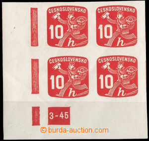 38161 - 1945 Pof.NV24, plate mark 3-45, L corner blk-of-4, c.v.. 300