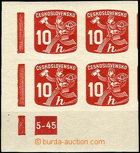 38163 - 1945 Pof.NV24, DZ 5-45, levý rohový 4-blok, kat. 400Kč