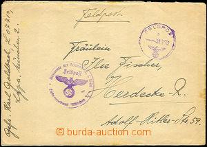 38196 - 1942 dopis s fialovým(!) raz. FP 21.1.42 doplněno útvarovým