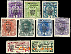 38204 - 1918 Prague overprint I Small Emblem  comp. 9 pcs of stamp.