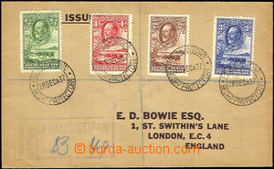 39757 - 1937 R-dopis do Anglie, vyfr. zn. Mi., DR Francistown 28.Dec