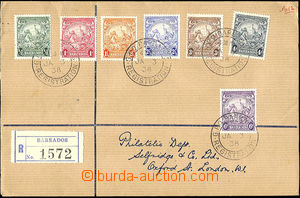 39759 - 1938 Reg letter to England, franked with. 7 pcs of postage s