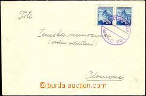 39810 - 1945 dopis vyfr. zn. Pof.375 2x, provizorní kulaté razítk
