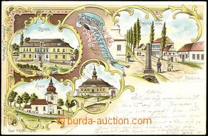 39857 - 1899 Košetice, color lithography, 4-view collage, long addr